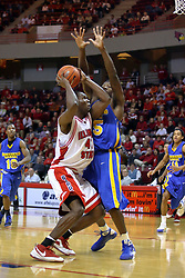 06 December 2008: Dinma Odiakosa runs into Kenneth Faried during a game where the  Illinois State University Redbirds extended their record to 9-0 with a 76-70 win over the Eagles of Morehead State on Doug Collins Court inside Redbird Arena on the campus of Illinois State University in Normal Illinois