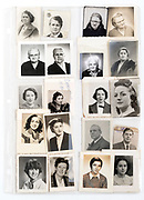 collection with various old ID portrait photographs