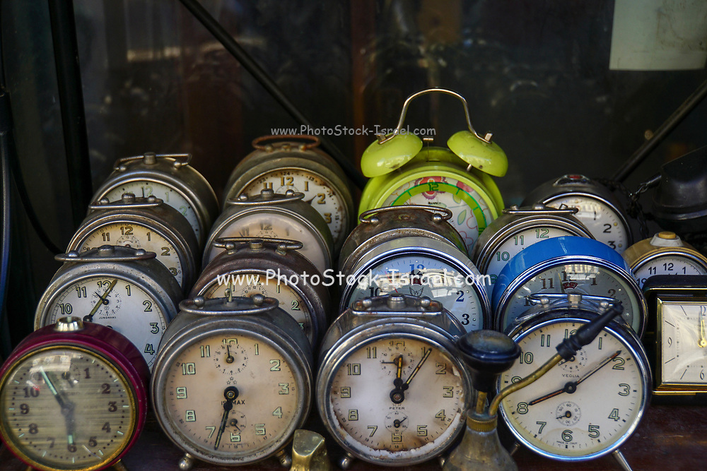 A collection of old mechanical alarm clocks Photographed at the Athens flea market, Greece