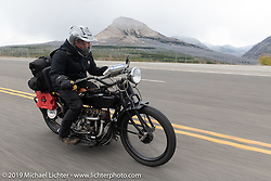 Kyle Rose of the Legends Motorcycle Museum in Utah riding his 1927 Indian on the Motorcycle Cannonball coast to coast vintage run. Stage 12 (242 miles) from Great Falls to Kalispell, MT. Thursday September 20, 2018. Photography ©2018 Michael Lichter.