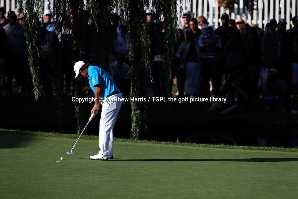 Jason DUFNER (USA) putt at 15th during fourth round US PGA Championship 2013,Oak Hill CC,