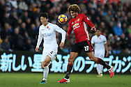 Marouane Fellaini of Manchester Utd in action. Premier league match, Swansea city v Manchester Utd at the Liberty Stadium in Swansea, South Wales on Sunday 6th November 2016.<br /> pic by  Andrew Orchard, Andrew Orchard sports photography.