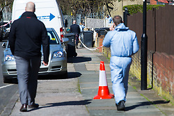 Detectives and forensic investigators work at the spot where it is thought that the alleged burglar died in Hither Green, South East London where 78 year-old pensioner Richard Osborn-Brooks is alleged to have killed one of two intruders who targeted his home. London, April 05 2018.