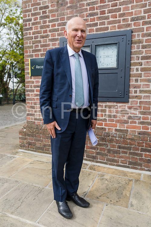 Liberal Democrat Leader Vince Cable arrives to speak at the Liberal Democrat party European election campaign launch held at Tobacco Dock, in London, England on April 26, 2019. Liberal Democrat party leader, Vince Cable announced Member of European Parliament MEP candidates for the upcoming European Parliament elections that will take place from 23rd to 26th May 2019.