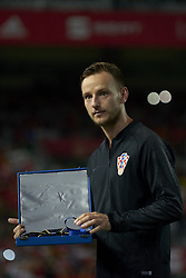 September 11, 2018 - Elche, Spain - Croatia's midfielder Ivan Rakitic receives symbolic jerseys marking his 100th cap before the UEFA Nations League football match between Spain and Croatia at Martinez Valero Stadium in Elche, Spain on September 8, 2018. (Credit Image: © Jose Breton/NurPhoto/ZUMA Press)