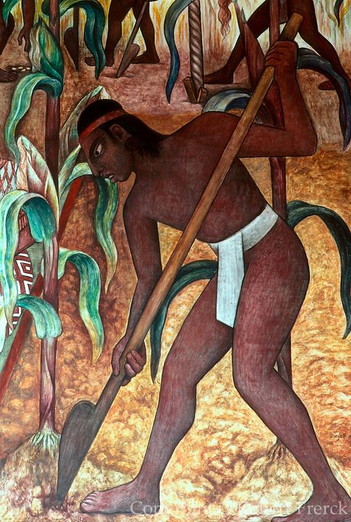MEXICO, MEXICO CITY, MURAL Rivera's Huaxtec Culture and corn