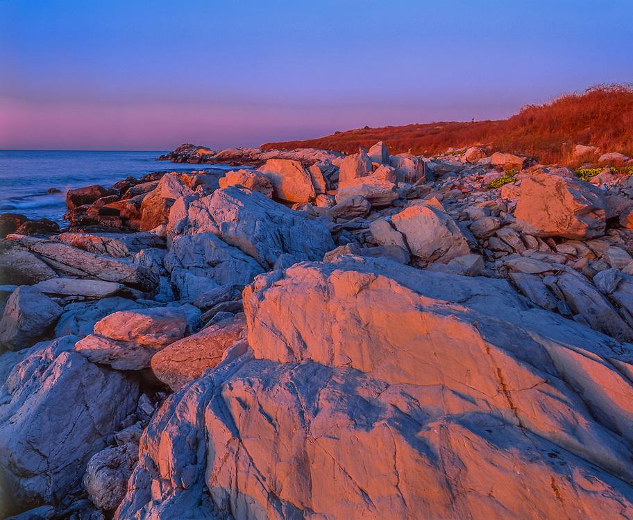 Dawn light on rocky Atlantic coast, Sachuest Point National Wildlife Refuge, Middletown, RI