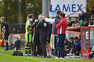 Forest Green Rovers Christian Doidge(9) get treated on the sideline during the EFL Sky Bet League 2 match between Stevenage and Forest Green Rovers at the Lamex Stadium, Stevenage, England on 21 October 2017. Photo by Adam Rivers.