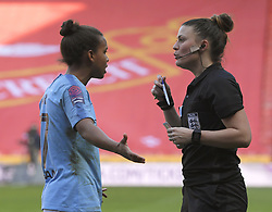 February 23, 2019 - Sheffield, England, United Kingdom - Match referee Lucy Oliver about to give a yellow card to Demi Stokes (Manchester City) during the  FA Women's Continental League Cup Final  between Arsenal and Manchester City Women at the Bramall Lane Football Ground, Sheffield United FC Sheffield, Saturday 23rd February. (Credit Image: © Action Foto Sport/NurPhoto via ZUMA Press)