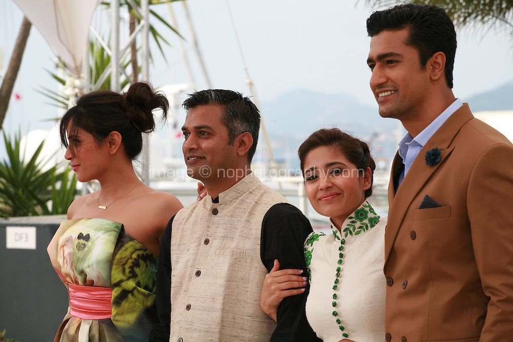 Actress Richa Chadda, director Neeraj Ghaywan,  actress Shweta Tripathi and actor Vicky Kaushal at the Masaan film photo call at the 68th Cannes Film Festival Tuesday May 19th 2015, Cannes, France.