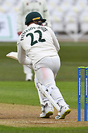 Liam Patterson-White of Nottinghamshire during the LV= Insurance County Championship match between Nottinghamshire County Cricket Club and Durham County Cricket Club at Trent Bridge, Nottingham, United Kingdom on 9 April 2021.