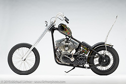 The Black Beatle, a custom motorcycle built from a 1959 panhead chopper, by Jake Silver. Photographed by Michael Lichter in Charlotte, SC, USA on 1/24/19. ©2019 Michael Lichter.