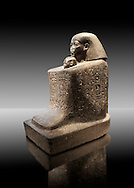 Ancient Egyptian granite block statue of the steward Senenmut and the princess Nefrure from Thebes. 18th Dynasty 1475 BC. Neues Museum Berlin AM 2296. .<br /> <br /> If you prefer to buy from our ALAMY PHOTO LIBRARY  Collection visit : https://www.alamy.com/portfolio/paul-williams-funkystock/ancient-egyptian-art-artefacts.html  . Type -   Neues    - into the LOWER SEARCH WITHIN GALLERY box. Refine search by adding background colour, subject etc<br /> <br /> Visit our ANCIENT WORLD PHOTO COLLECTIONS for more photos to download or buy as wall art prints https://funkystock.photoshelter.com/gallery-collection/Ancient-World-Art-Antiquities-Historic-Sites-Pictures-Images-of/C00006u26yqSkDOM