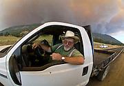 Bear Valley, California, July 26, 2008-Telegraph Fire near Yosemite National Park.Smoke rises over Mount Bullion and Fremont Ridge.  Image taken from Highway 49. Between Mt. Bullion and Bear Valley.  .Photo by Al GOLUB/Golub Photography.