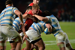 June 16, 2018 - Santa Fe, Argentina - Gareth Anscombe (C) from Wales breaks with the ball during the International Test Match between Argentina and Wales at the Brigadier Estanislao Lopez Stadium, on June 16, 2018 in Sante Fe, Argentina. (Credit Image: © Javier Escobar/NurPhoto via ZUMA Press)