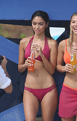 Ambra Battilana, a model who once accused Harvey Weinstein of groping her in his office, is seen posing in pink bikini during a photoshoot on Miami Beach. Models Simone Villa Boas and Andra Cronenberg also took part in the bikini photoshoot. 09 Oct 2017 Pictured: Ambra Battulana; Ambra Gutierrez. Photo credit: MEGA TheMegaAgency.com +1 888 505 6342