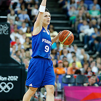 09 August 2012: France Celine Dumerc calls a play during 81-64 Team France victory over Team Russia, during the women's basketball semi-finals, at the 02 Arena, in London, Great Britain.