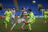 James Norwood (Tranmere Rovers) flicks the ball over Adam Blakeman (Southport) during the Vanarama National League match between Tranmere Rovers and Southport at Prenton Park, Birkenhead, England on 6 February 2016. Photo by Mark P Doherty.