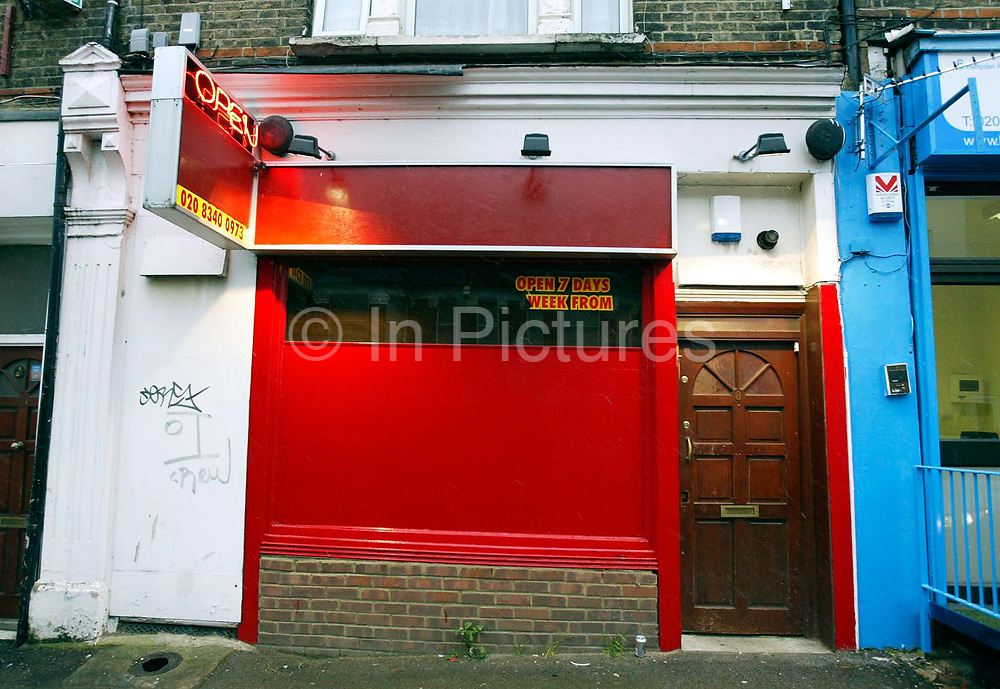"""'Ishka' Sauna, Hampden road, Honesey, North London. Scene where a milti million pound vice ring was centred by Josephine Daly. Josephine Daly was thought to have been an eccentric woman who named her house after a pet dog she had buried in the garden. Rarely seen outdoors or driving her white Rolls-Royce, the bespectacled 64-year-old hardly aroused suspicion in Hornsey. But when detectives began investigating one of the capital's biggest vice rings, they soon discovered """"Josie"""" was not what she seemed. Over more than a decade, the quietly spoken Irish woman had built up a prostitution empire based at three saunas which was earning her an alleged £3-4m a year.<br /> Only one of the premises actually had a sauna. Undercover officers were offered a sex menu after paying a £10 entry fee and ushered into a massage room where they made their excuses and left. A surveillance operation showed 1,500 men were going to the brothels at Aqua Sauna, Lanacombe Sauna, and the Ishka Bath every week."""