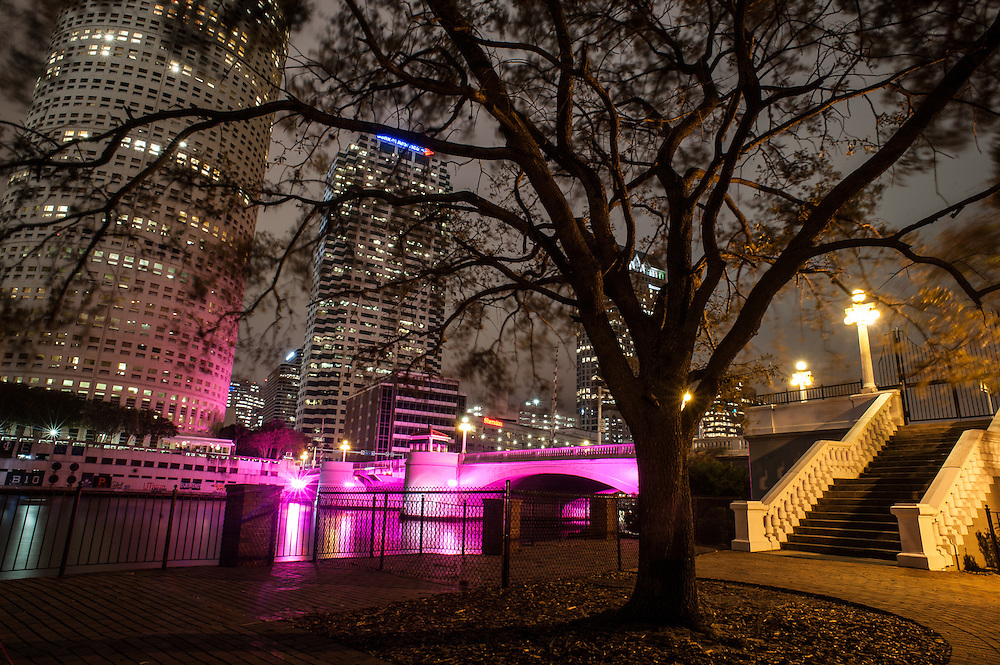 The bridge on W Kennedy Blvd, over the Hillsborough River, in lights, Tampa, Florida
