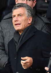 Argentina's President Mauricio Macri watches from the stands the Ligue 1 Paris Saint-Germain (PSG) v Montpellier football match at the Parc des Princes stadium in Paris, France, January 27, 2018. Photo by Christin Liewig/ABACAPRESS.COM