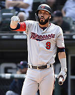 CHICAGO - JUNE 29:  Marwin Gonzalez #9 of the Minnesota Twins takes a deep breath against the Chicago White Sox on June 29, 2019 at Guaranteed Rate Field in Chicago, Illinois.  (Photo by Ron Vesely)  Subject:  Marwin Gonzalez