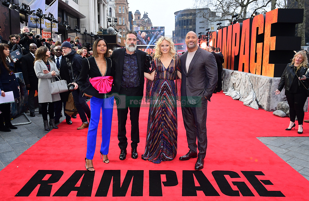 Naomie Harris, Jeffrey Dean Morgan, Malin Akerman and Dwayne Johnson attending the European premiere of Rampage, held at the Cineworld in Leicester Square, London. Picture date: Wednesday April 11, 2018. See PA story SHOWBIZ Rampage. Photo credit should read: Ian West/PA Wire