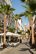 Street in Barrio de la Vina in Cadiz, Spain