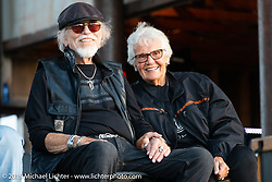 Nancy and Willie G Davidson at the AMA Flat track race at the Buffalo Chip during the Sturgis Black Hills Motorcycle Rally. Sturgis, SD, USA. Sunday, August 4, 2019. Photography ©2019 Michael Lichter.