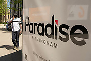 Redevelopment of the Paradise area on 15th June 2021 in Birmingham, United Kingdom. Paradise, formerly Paradise Circus, is the name given to an area of approximately 7 hectares in Birmingham city centre between Chamberlain and Centenary Squares. The area has been part of the civic centre of Birmingham since the 19th century. From 2015 Argent Group will redevelop the area into new mixed use buildings and public squares.