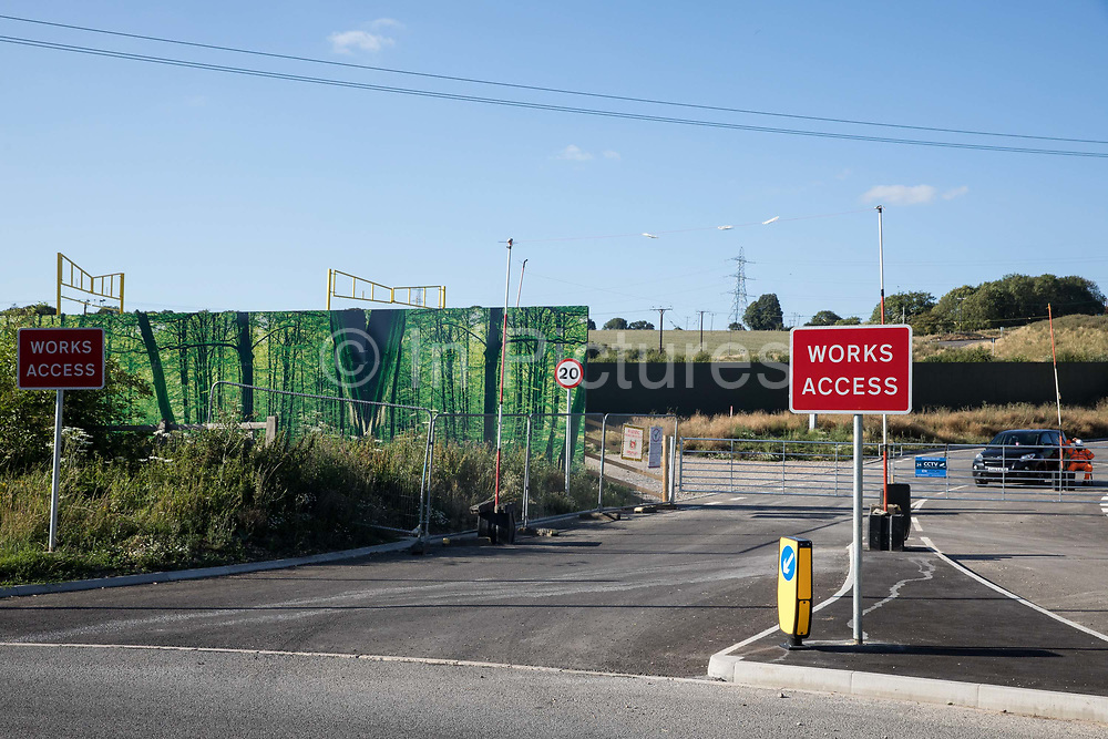 Signs indicate a security-manned access point to a site for the HS2 Great Missenden Haul Road on 17th July 2020 in Great Missenden, United Kingdom. The Department for Transport approved the issuing of Notices to Proceed by HS2 Ltd to the four Main Works Civils Contractors MWCC working on the £106bn high-speed rail link project in April 2020.