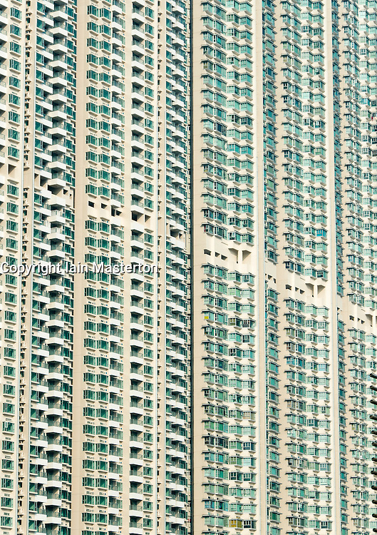 Densely populated high rise apartment building in Hong Kong