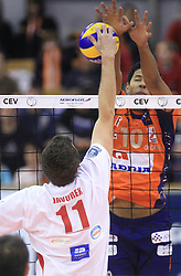 Miloslav Javurek vs Delano Thomas of ACH Volley at volleyball match of CEV Indesit Champions League Men 2008/2009 between ACH Volley Bled (SLO) and Beauvais Oise (FRA), on December 11, 2008 in Hala Tivoli, Ljubljana, Slovenia. (Photo by Vid Ponikvar / Sportida)