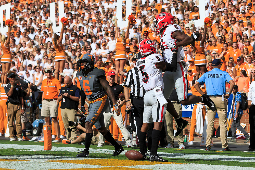 during an NCAA football game against the Tennessee Volunteers, Saturday, September 30, 2017, in Knoxville, TN. (Paul Abell via Abell Images for Chick-fil-A Peach Bowl)