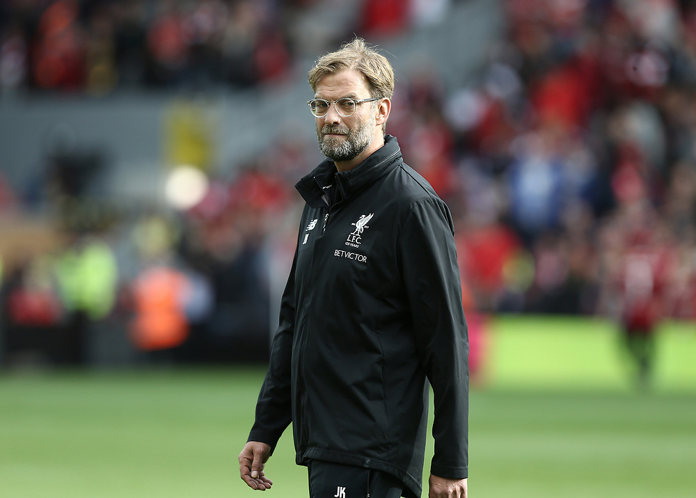 Liverpool manager Jurgen Klopp during the pre-match warm-up <br /> <br /> Photographer Rich Linley/CameraSport<br /> <br /> The Premier League - Liverpool v Manchester United - Saturday 14th October 2017 - Anfield - Liverpool<br /> <br /> World Copyright © 2017 CameraSport. All rights reserved. 43 Linden Ave. Countesthorpe. Leicester. England. LE8 5PG - Tel: +44 (0) 116 277 4147 - admin@camerasport.com - www.camerasport.com