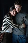 Javier Calvelo/ URUGUAY/ MONTEVIDEO/ FOTOGRAFIA/ Expoprado - Exposicion Rural del Prado de Montevideo/ Proyecto documental sobre la identidad, lo nacional, lo Uruguayo. Se trata de retratos simples mirando a camara y con un fondo neutro. Les pregunto a los fotografiados como quieren ser recordados en el futuro y de que localidad del Uruguay son.<br /> El titulo esta basado en la obra de Raymond Firth, Tipos Humanos. (Raymond William Firth, ( 1901-2002) fue un etnólogo neozelandés profesor de Antropología en la London School of Economics, es uno de los fundadores de la antropología económica británica). <br /> En la foto:  Tipos Humanos en Expoprado, Jonathan Suarez y Katerine Vignoli, Canelones. Foto: Javier Calvelo <br /> clarisa.63@hotmail.com<br /> 2013-09-06 dia viernes