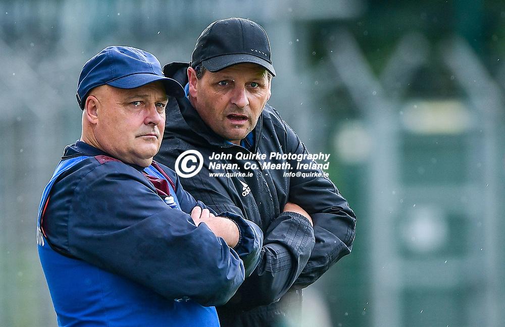 Ballivor joint managers, John Rafferty and James McNally,   during the Carnaross v Ballivor, JFC l match at Páirc Tailteann, Navan.<br /> <br /> Photo: GERRY SHANAHAN-WWW.QUIRKE.IE<br /> <br /> 29-08-2020
