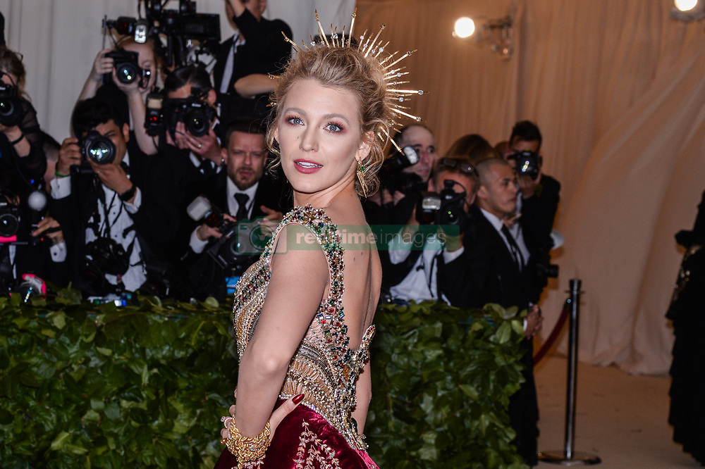 Blake Lively walking the red carpet at The Metropolitan Museum of Art Costume Institute Benefit celebrating the opening of Heavenly Bodies : Fashion and the Catholic Imagination held at The Metropolitan Museum of Art  in New York, NY, on May 7, 2018. (Photo by Anthony Behar/Sipa USA)