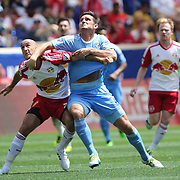 HARRISON, NEW JERSEY- JULY 24: Frank Lampard #8 of New York City FC challenges Aurelien Collin #78 of New York Red Bulls during the New York Red Bulls Vs New York City FC MLS regular season match at Red Bull Arena, Harrison, New Jersey on July 24, 2016 in Harrison, New Jersey. (Photo by Tim Clayton/Corbis via Getty Images)