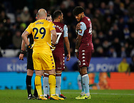 Tyrone Mings of Aston Villa claims the ball hit his shoulder and not his arm before VAR awards a penalty against him  during the Premier League match at the King Power Stadium, Leicester. Picture date: 9th March 2020. Picture credit should read: Darren Staples/Sportimage