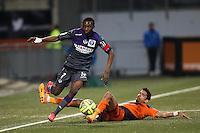 Jean Daniel AKPA AKPRO / Francois BELLUGOU - 18.04.2015 - Lorient / Toulouse - 33eme journee de Ligue 1<br />Photo : Vincent Michel / Icon Sport
