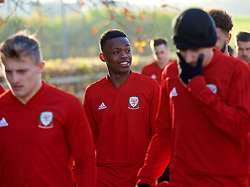 CARDIFF, WALES - Sunday, November 18, 2018: Wales' Rabbi Matondo arrives for a training session at the Vale Resort ahead of the International Friendly match between Albania and Wales. (Pic by David Rawcliffe/Propaganda)