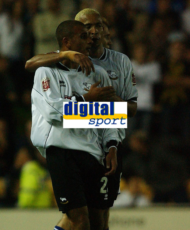 Photo: Daniel Hambury<br /> The Coca Cola Championship<br /> Derby County V Leicester City 11/08/2004<br /> <br /> Derby County's Masrcus Tudgay celebrates his goal with team mate Junior<br /> <br /> NORWAY ONLY