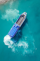 Aerial view of a car ferry in Gulf of Corinth, Greece.