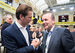 04.05.2019, Sofiensäle, Wien, AUT, ÖVP, Wahlkampfauftakt zur EU-Wahl. im Bild Bundeskanzler Sebastian Kurz (ÖVP) und EVP-Spitzenkandidat Manfred Weber // Austrian Federal Chancellor Sebastian Kurz and topcandidate of the EPP Manfred Weber during  campaign opening regarding to Eurpean Parliment Elections of the Austrian People' s Party in Vienna, Austria on 2019/05/04. EXPA Pictures © 2019, PhotoCredit: EXPA/ Michael Gruber
