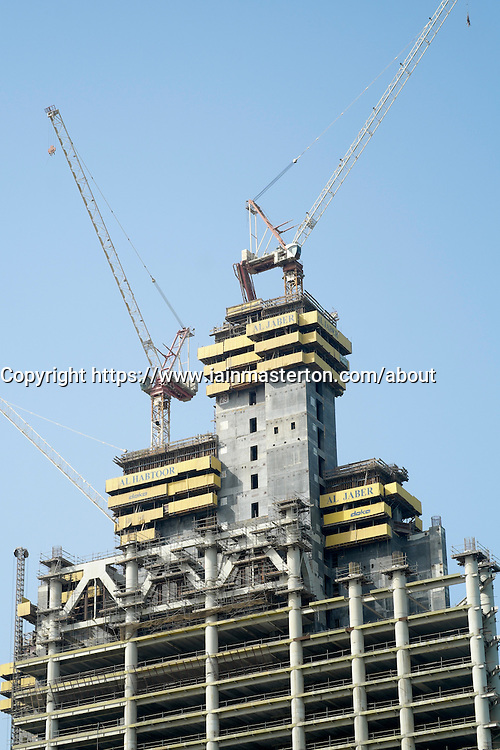 New office tower under construction in business district of Doha Qatar