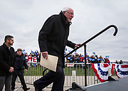 Democratic 2020 presidential candidate Bernie Sanders takes the stage during a rally at James Madison Park in Madison, WI on Friday, April 12, 2019.