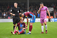 Scunthorpe United midfielder Josh Morris (11)  is injured during the EFL Sky Bet League 1 match between Scunthorpe United and Rochdale at Glanford Park, Scunthorpe, England on 8 September 2018. Photo Ian Lyall