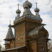 A relocated historic Russian Orthodox church is preserved in the Malye Korely outdoor museum, in taiga forests near the northern port of Arkhangel'sk, at the edge of the White Sea and Arctic Ocean.