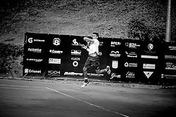 June 23, 2018 - L'Aquila, Italy - (EDITORS NOTE: Image has been converted to black and.white.) Thiago Monteiro during match between Thiago Monteiro (BRA) and Paolo Lorenzi (ITA) during Men Semi-Final match at the Internazionali di Tennis Citt dell'Aquila (ATP Challenger L'Aquila) in L'Aquila, Italy, on June 23, 2018. (Credit Image: © Manuel Romano/NurPhoto via ZUMA Press)